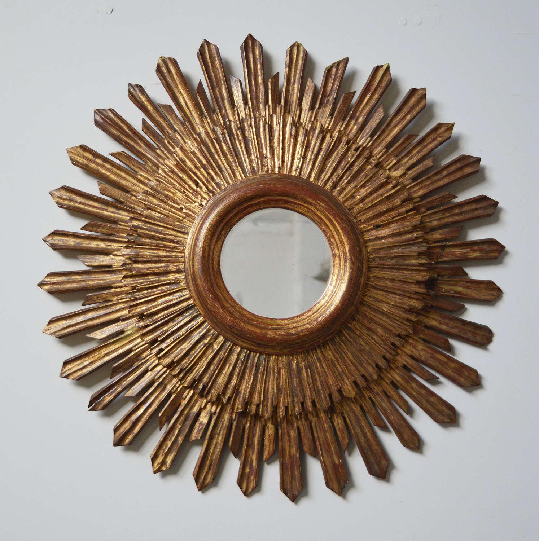 Mid Century Spanish Giltwood Sun Mirror