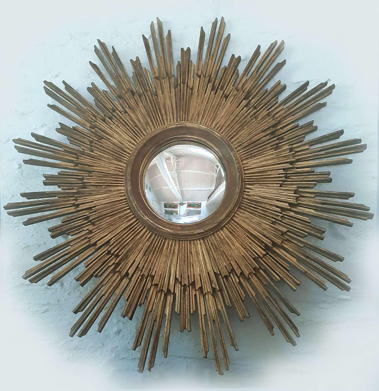 Superb giant Sunburst Gilt-wood Convex Mirror
