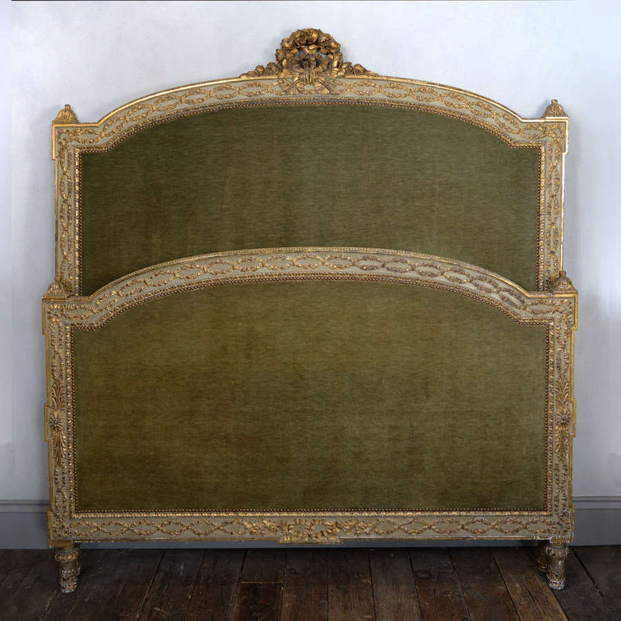 Rare Quality 19th Century Louis XVI style King-size giltwood bedstead