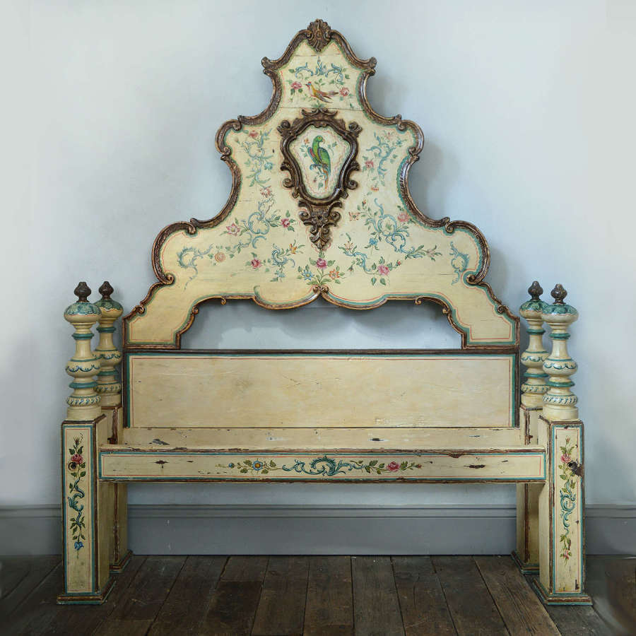 18th Century Italian Hand painted king size bedstead