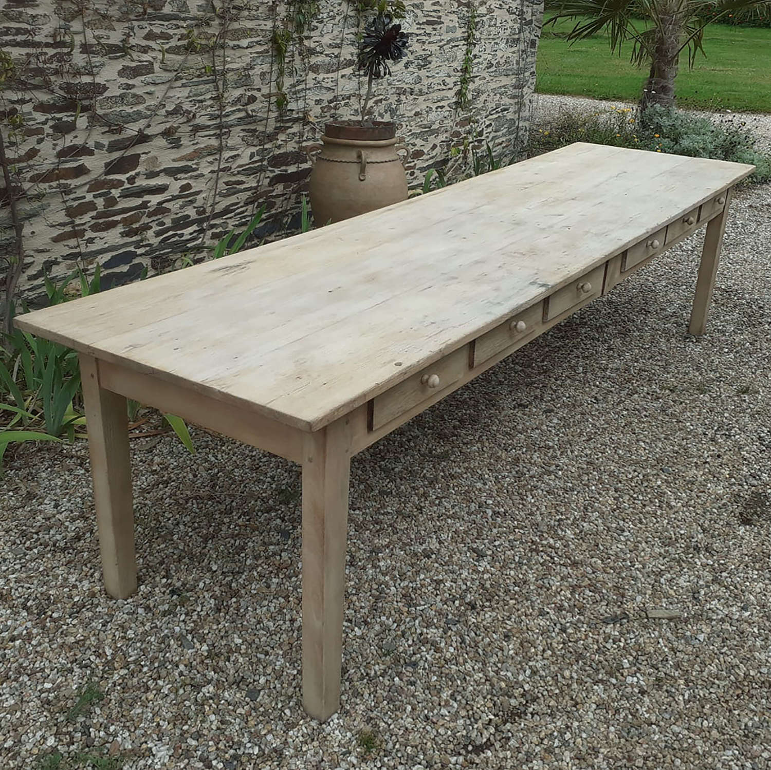 Large 19th Century Bleached Elm Convent Table