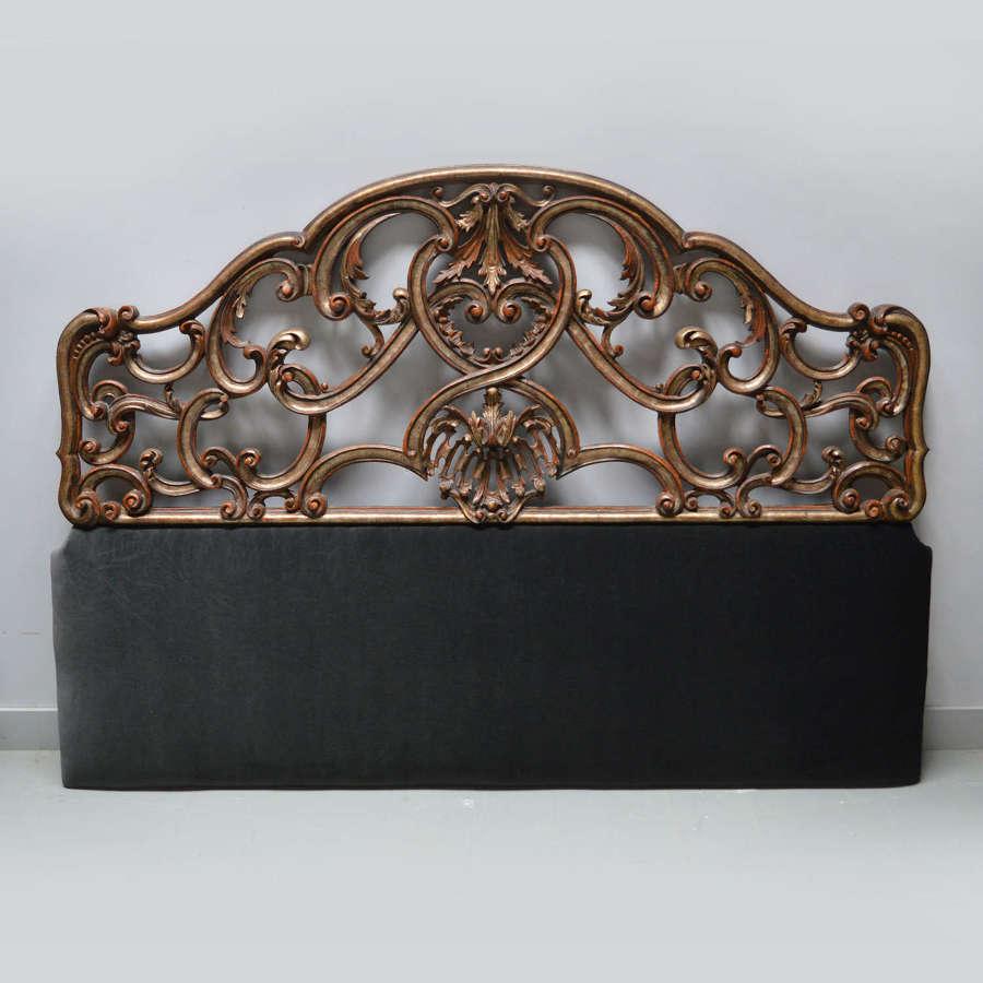 Italian silver giltwood Super-king size headboard c1910-20
