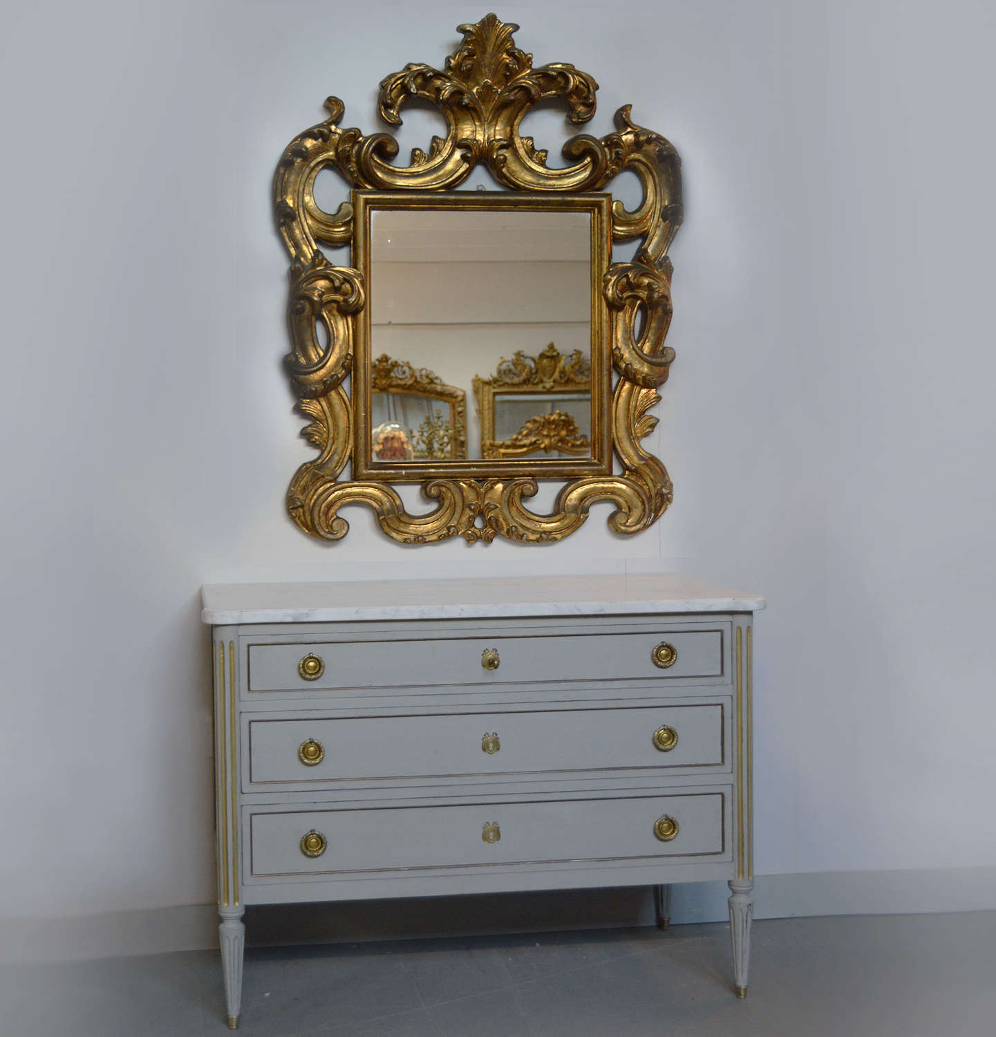 Small Louis XVI style marble top commode