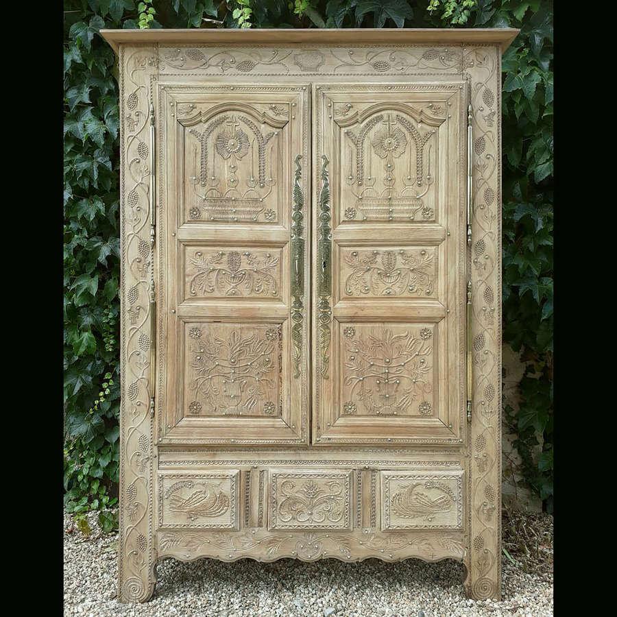 19th Century Quimper Marriage armoire c1879
