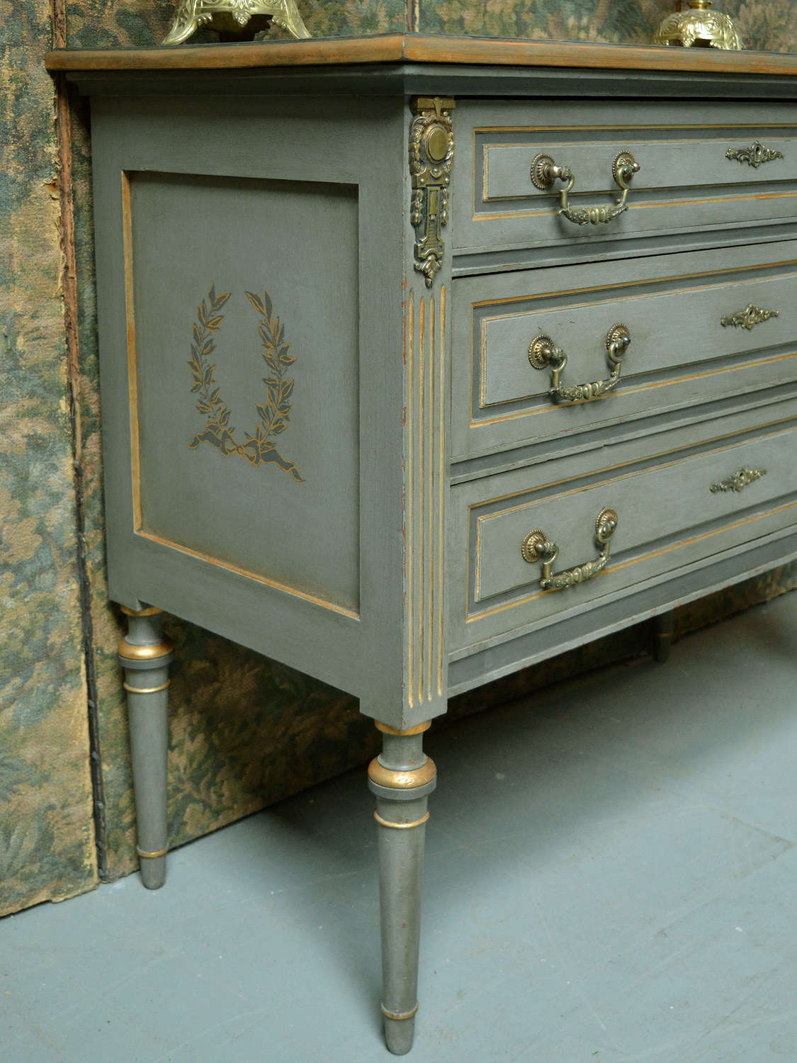Small Louis XVI style hand painted commode
