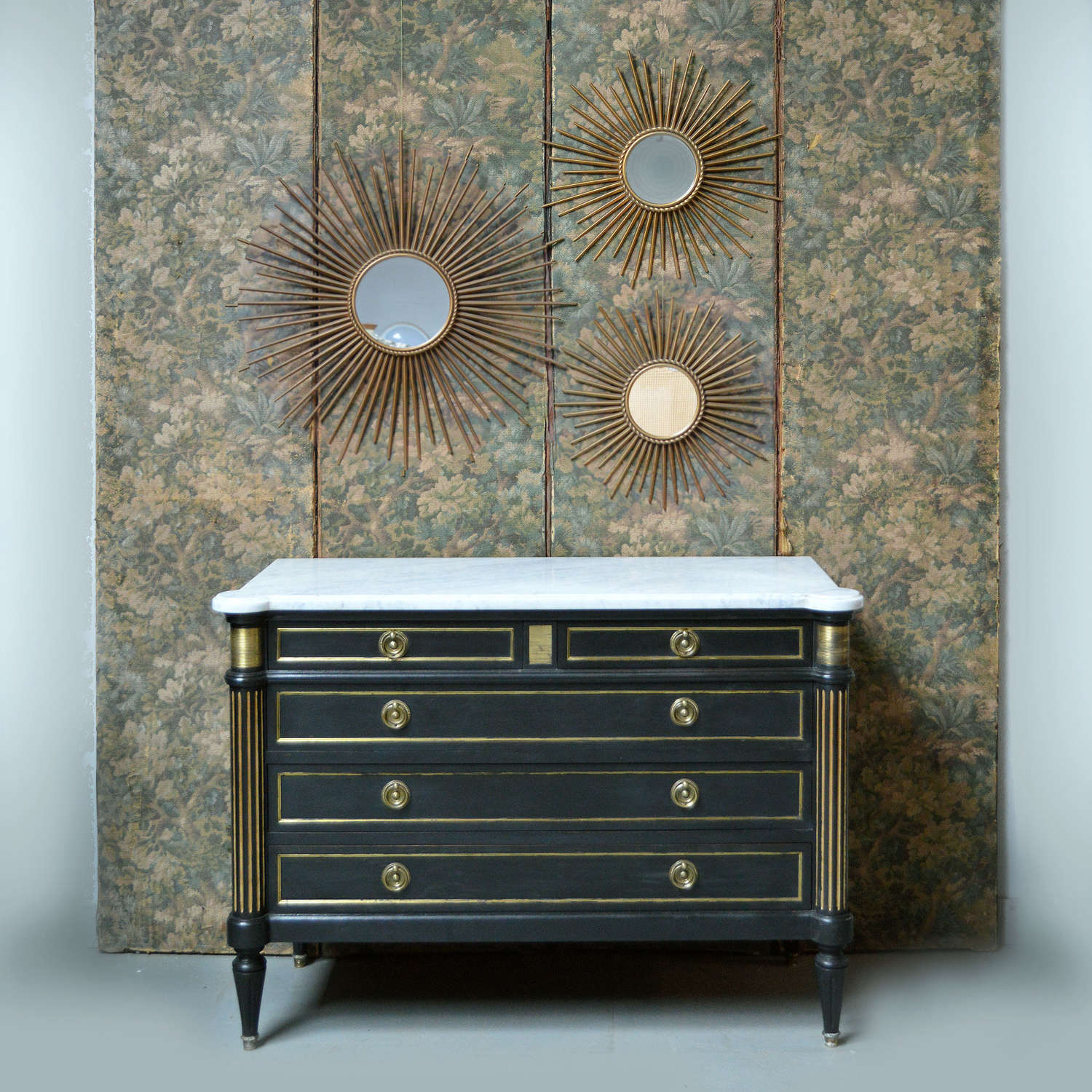 Louis XVI style marble top commode