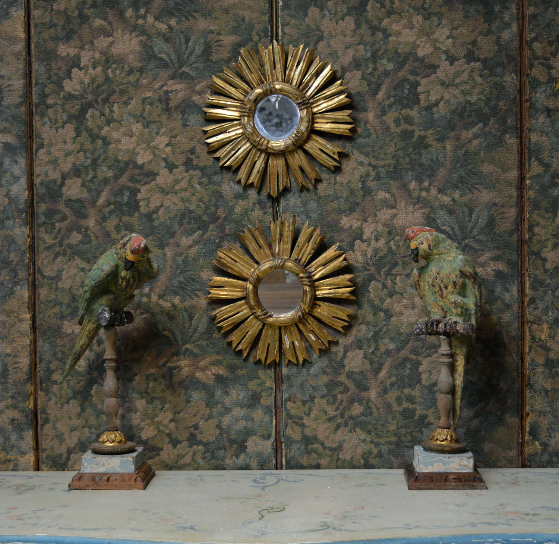 Pair of small Italian giltwood Sun Mirrors