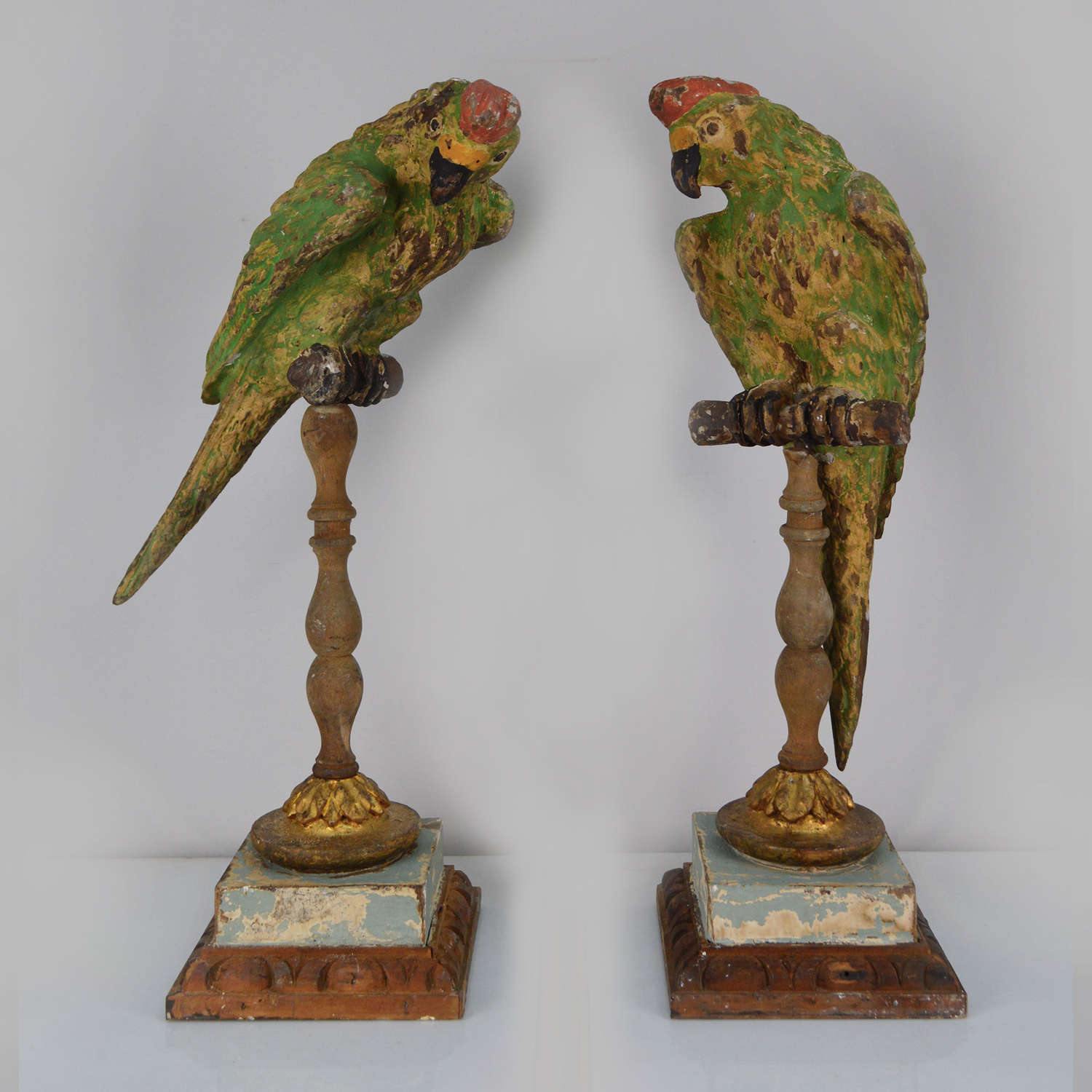 Pair of Hand Carved Parrots