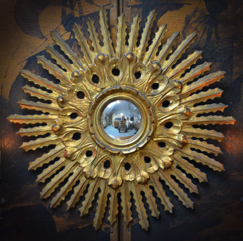 Mid Century gilt wood Spanish convex sun mirror