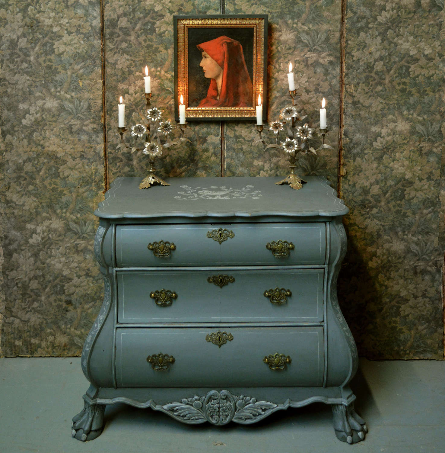 18th Century Dutch bombe hand painted commode