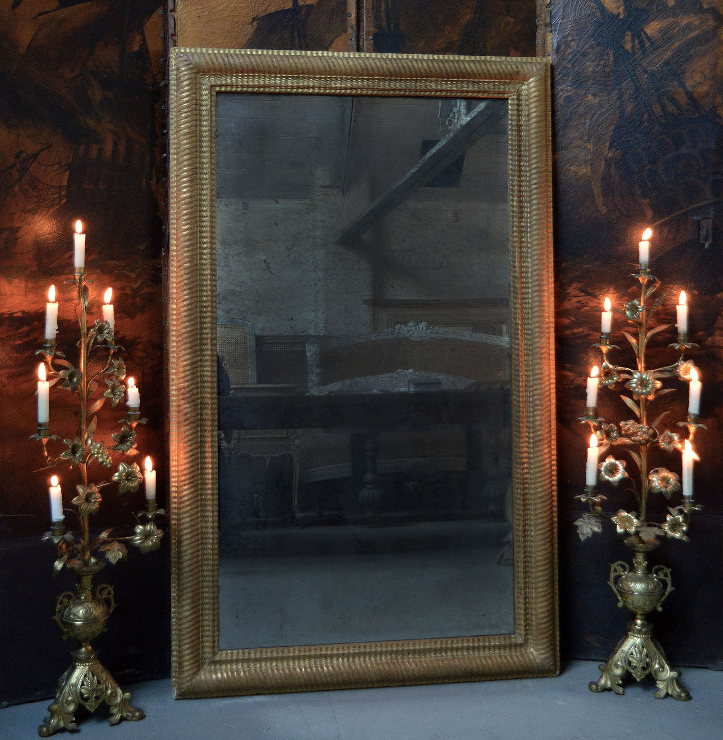 Large early 19th Century Ripple frame mirror
