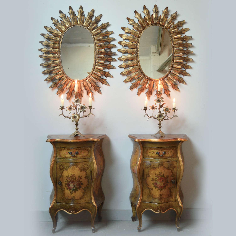 Pair of Mid Century Spanish Gilt metal leaf sun mirrors