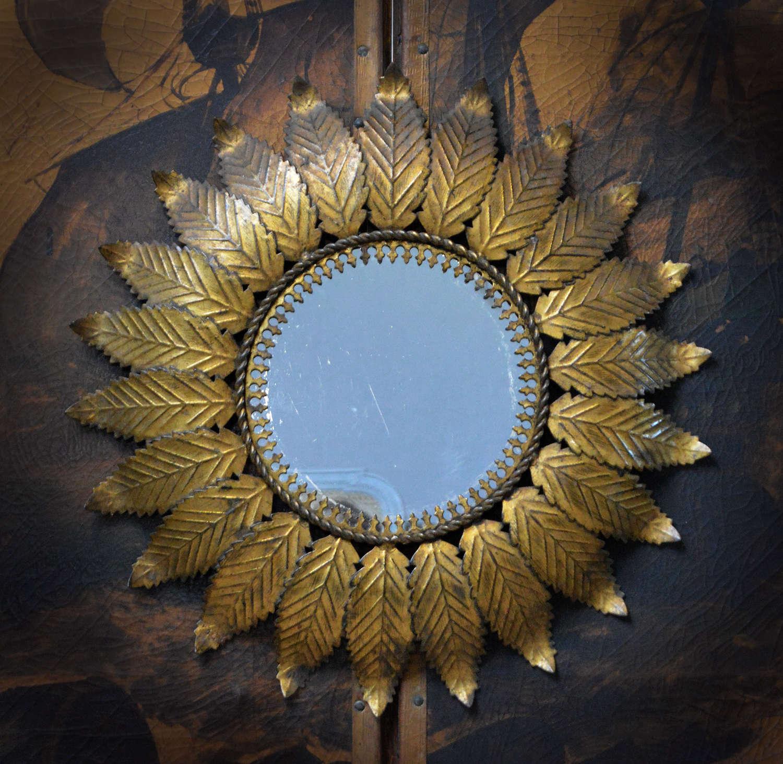 Mid century Spanish gilt metal sun mirror