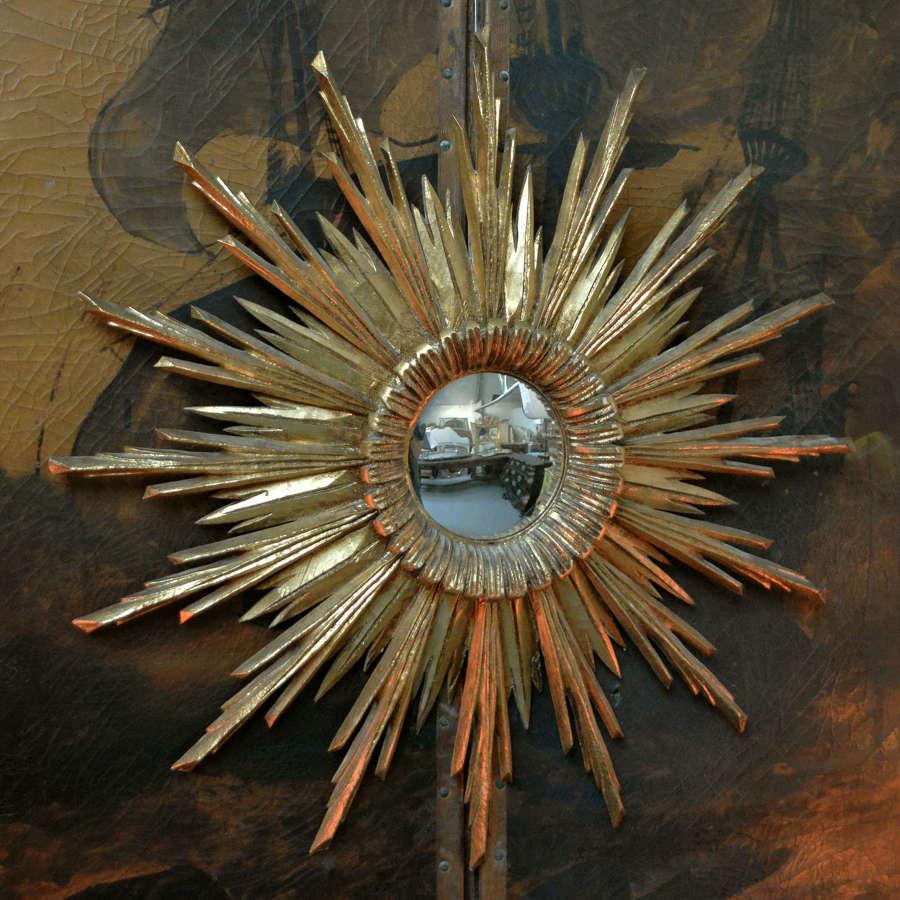 Mid century Spanish giltwood convex sun mirror